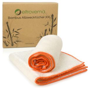 zwei Bambus Allzwecktücher ein Kraftpapierkarton