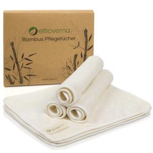 Sechs Bambus Pflegetücher vor dem Karton der Verpackung